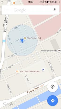 オフラインでもGoogleマップを使って目的地に到着できました
