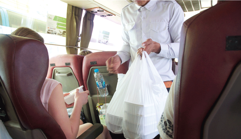 Staff distribute food