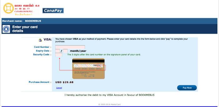 Input Credit card Information